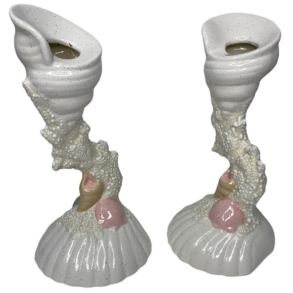VTG Mermaid Shell Candle Holders Pink Shells Coral